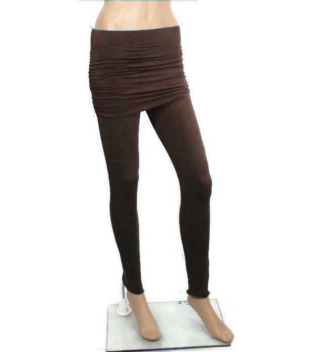 Kobieta Skirted Leggings- Hand Dyed Cocoa Brown in Bamboo/Organic Cotton- Ready to ship, Size Med - product image