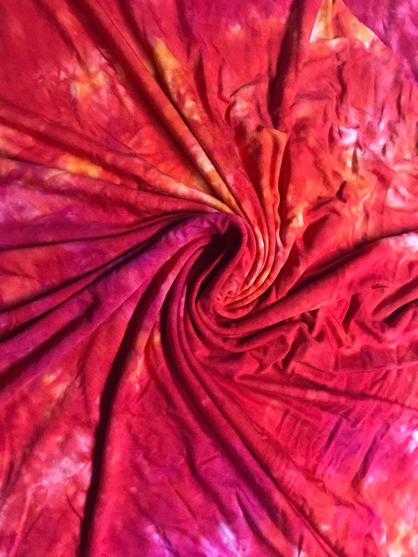 Orange, Red, Fuchsia Hand Dyed Organic Bamboo Velour (OBV) 2 yards 22 in. Continuous plus Bonus Piece Available - product image