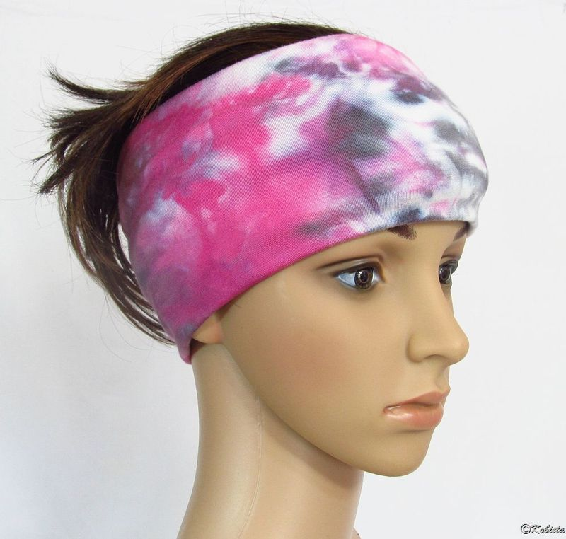 Solid Color or Hand Dyed Tie Dye Bamboo Jersey Yoga Head Wraps/Bands - product images  of