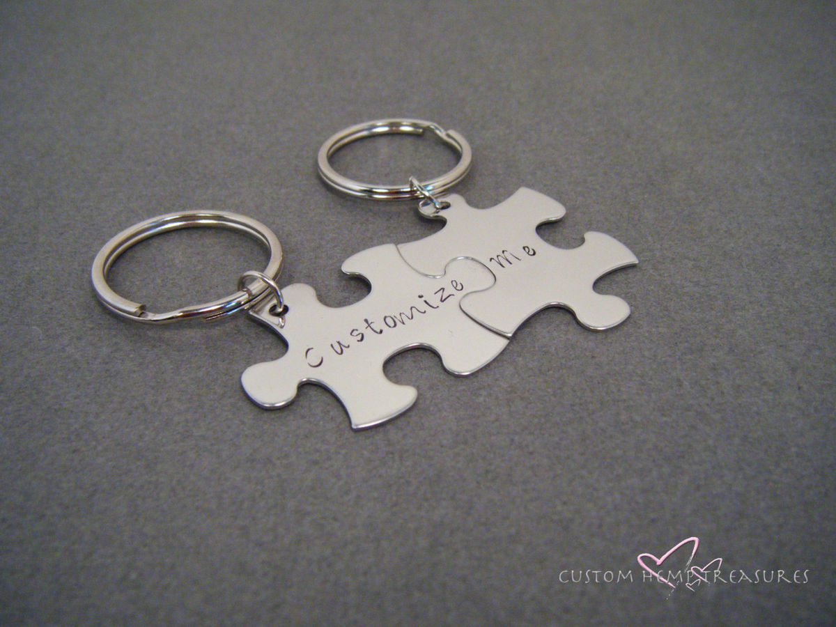 Fully Customized Puzzle Piece Keychain Set, Couples