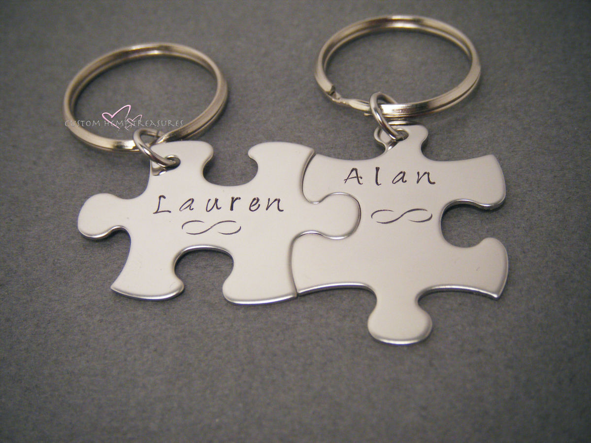 Infinity Name Keychains, Couples Keychains Puzzle Keychain Set - product images  of