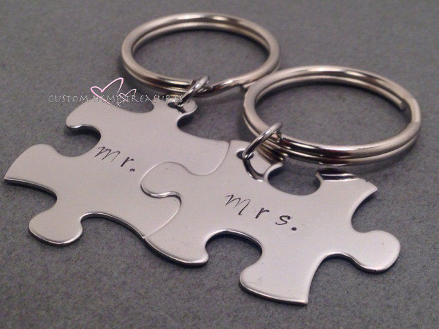Mr Mrs Keychains, Wedding gift for couples - product images  of