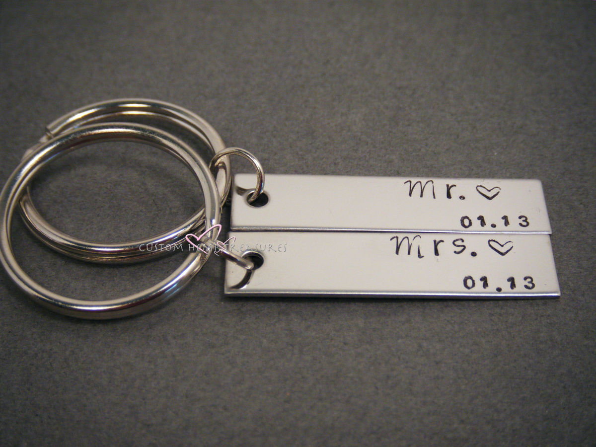 Mr Mrs Key Chain Set with Wedding Date, Personalized Couples Keychains - product images  of