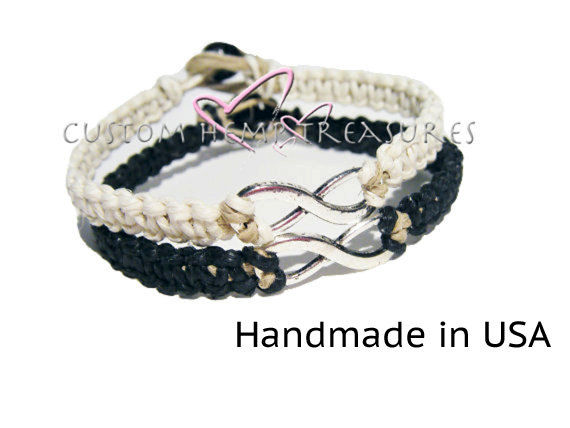 Infinity Bracelets for couples, Black and white hemp bracelets - product image