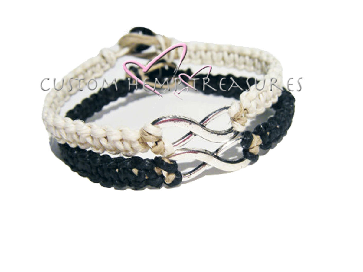 Infinity Bracelets for couples, Black and white hemp bracelets - product images  of