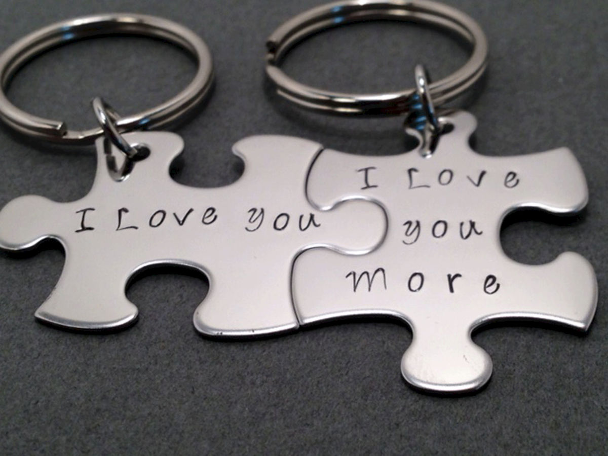 I love you I love you more puzzle piece keychains - product images  of