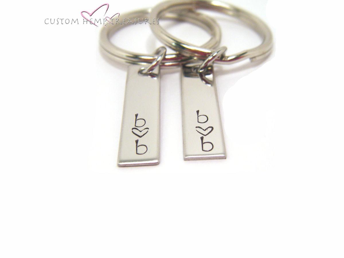 Couples Personalized Keychains, Small Minimalist Keychain