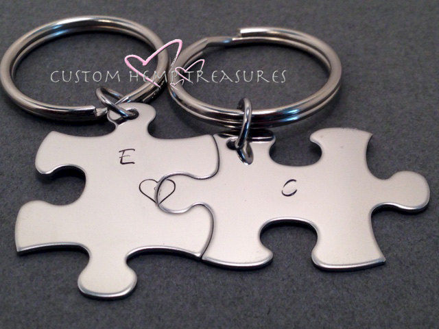 Personalized Initial Keychains for couples - product image