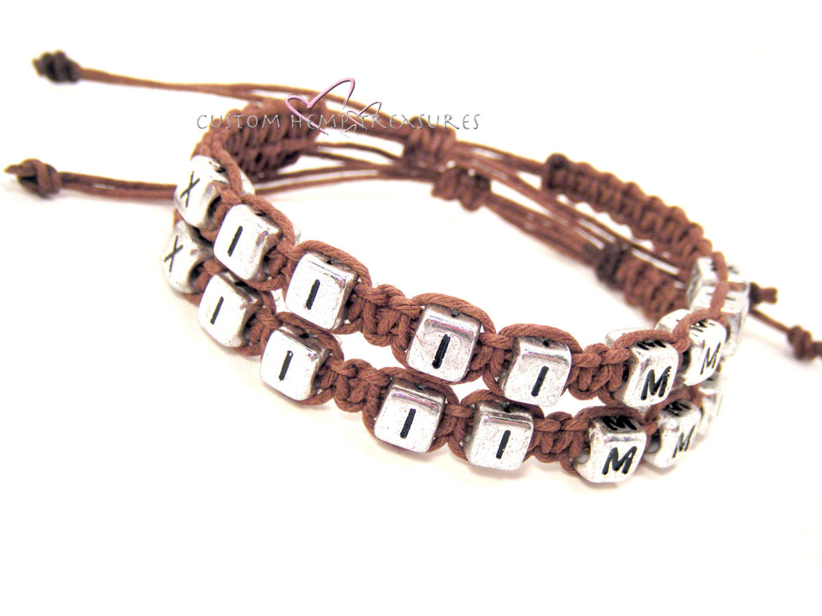 Roman Numeral Date Bracelets, Couples Bracelets - product images  of