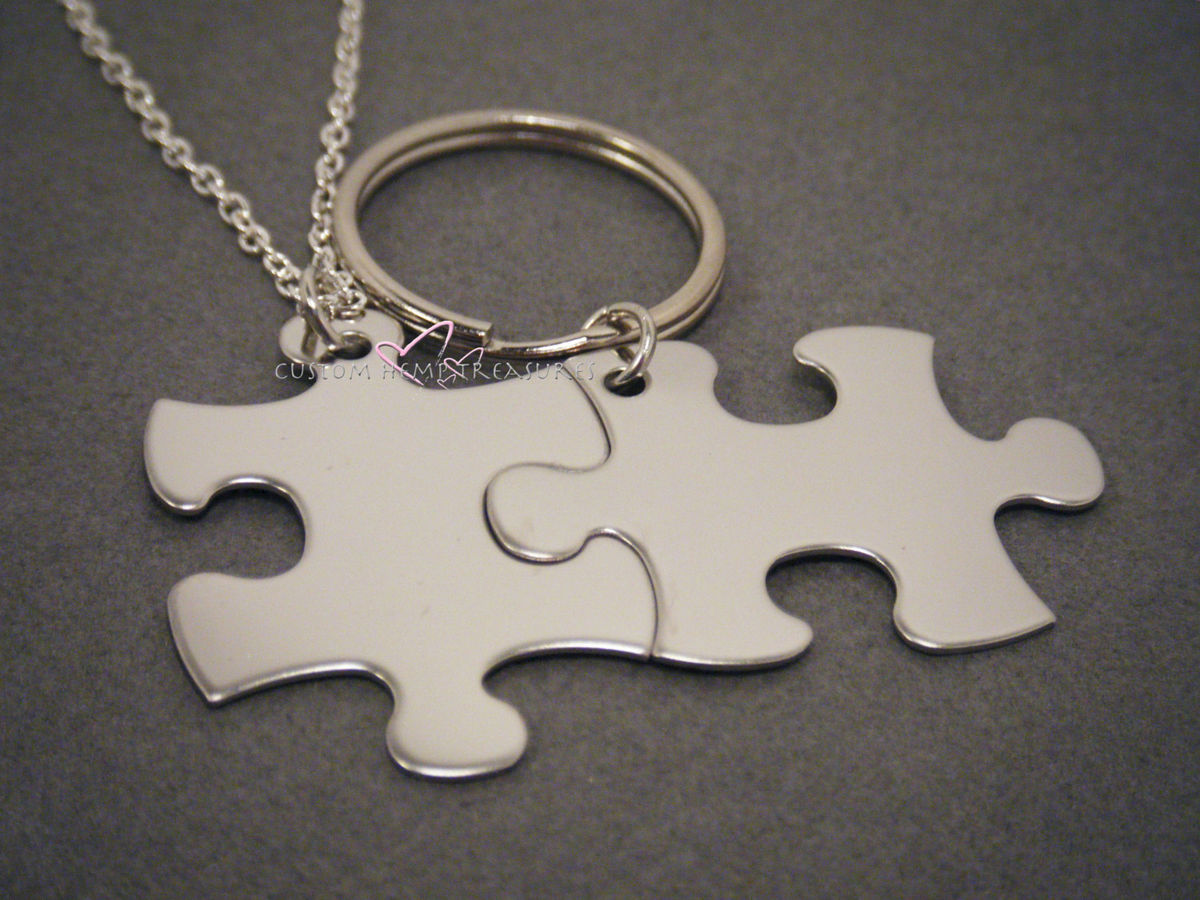 Puzzle piece Keychain and Necklace set for couples - product image
