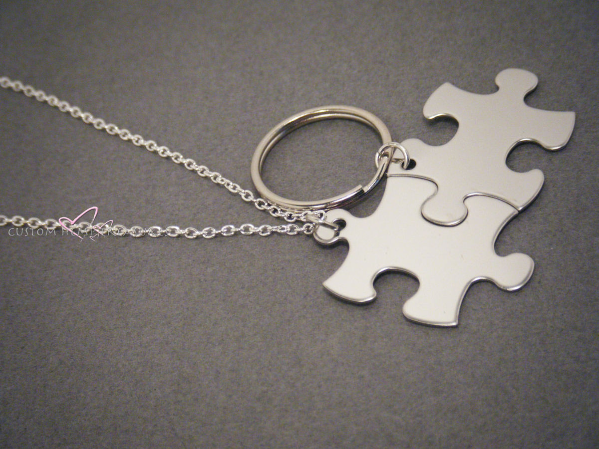 Puzzle piece Keychain and Necklace set for couples - product images  of