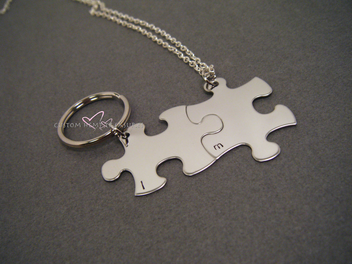 Couples Necklace and Keychain Set Puzzle PIeces, Initial Necklace Keychain Set - product image