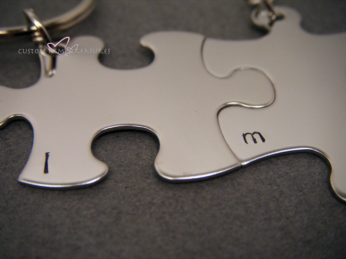 Couples Necklace and Keychain Set Puzzle PIeces, Initial Necklace Keychain Set - product images  of