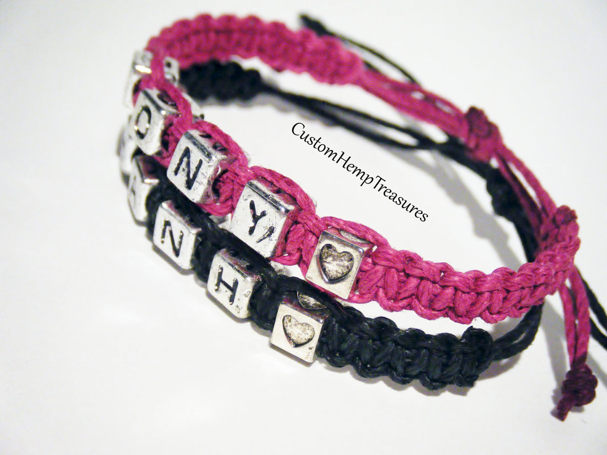 Adjustable Name Bracelets with Heart Beads, Couples Bracelets, Personalized Name Bracelets for Couples - product images  of