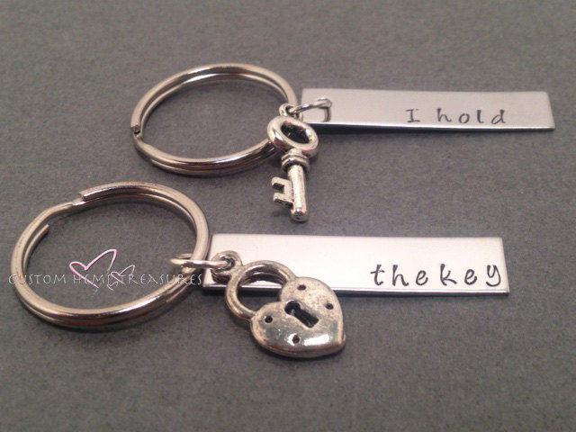 I hold The Key, Couples Keychains with lock and key charms - product images  of