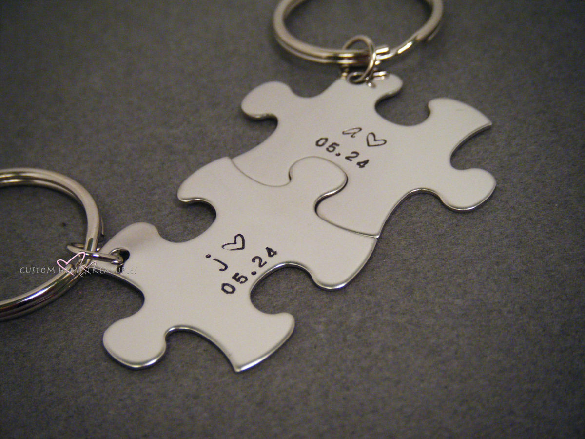 Personalized Initials Date Key chain for couples - product image