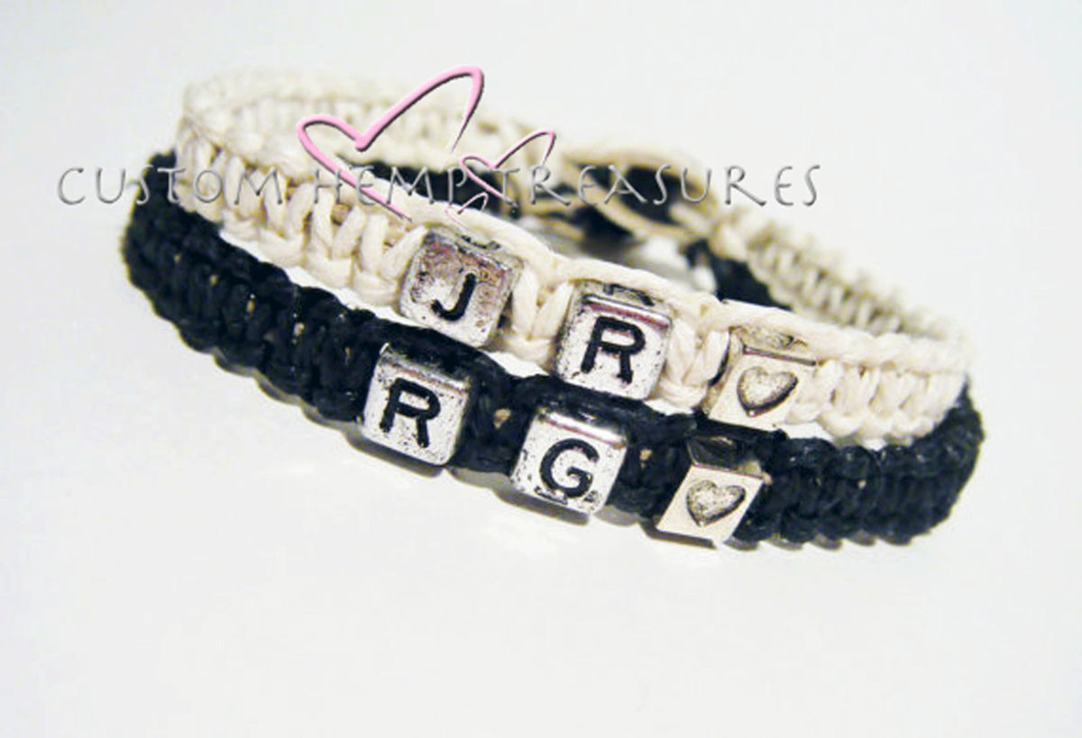 Personalized Initials Bracelets, Hemp Couples Bracelets - product image