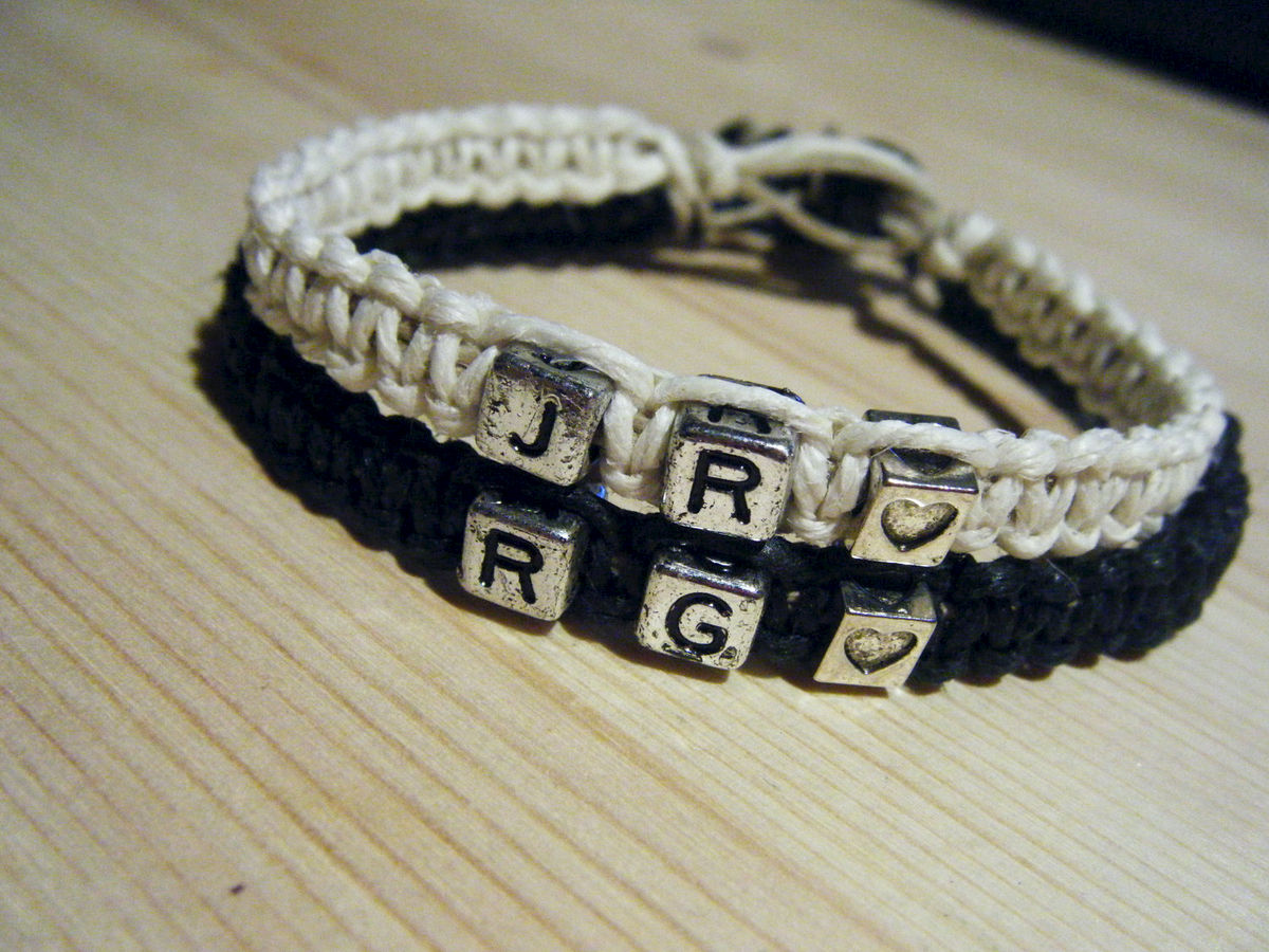 Personalized Initials Bracelets, Hemp Couples Bracelets - product images  of
