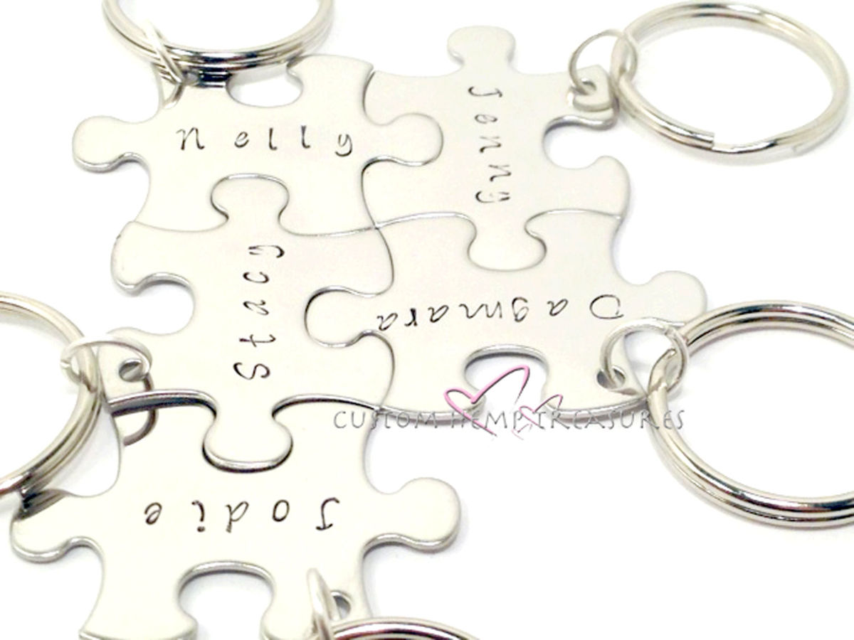 5 Puzzle Piece Keychain Set, Family Keychain Set - product image