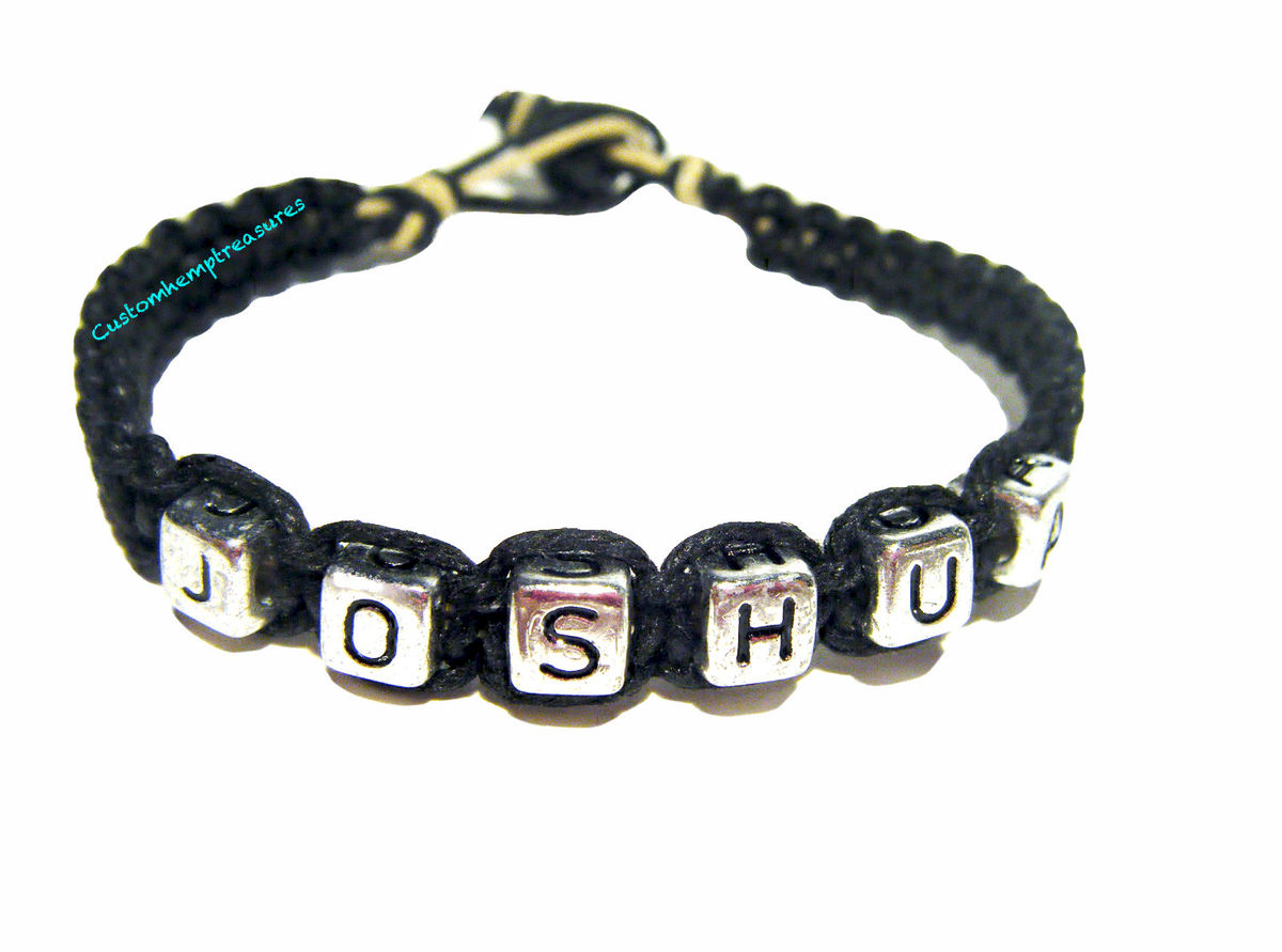 Personalized Name Bracelet, Handmade Hemp Bracelet - product image