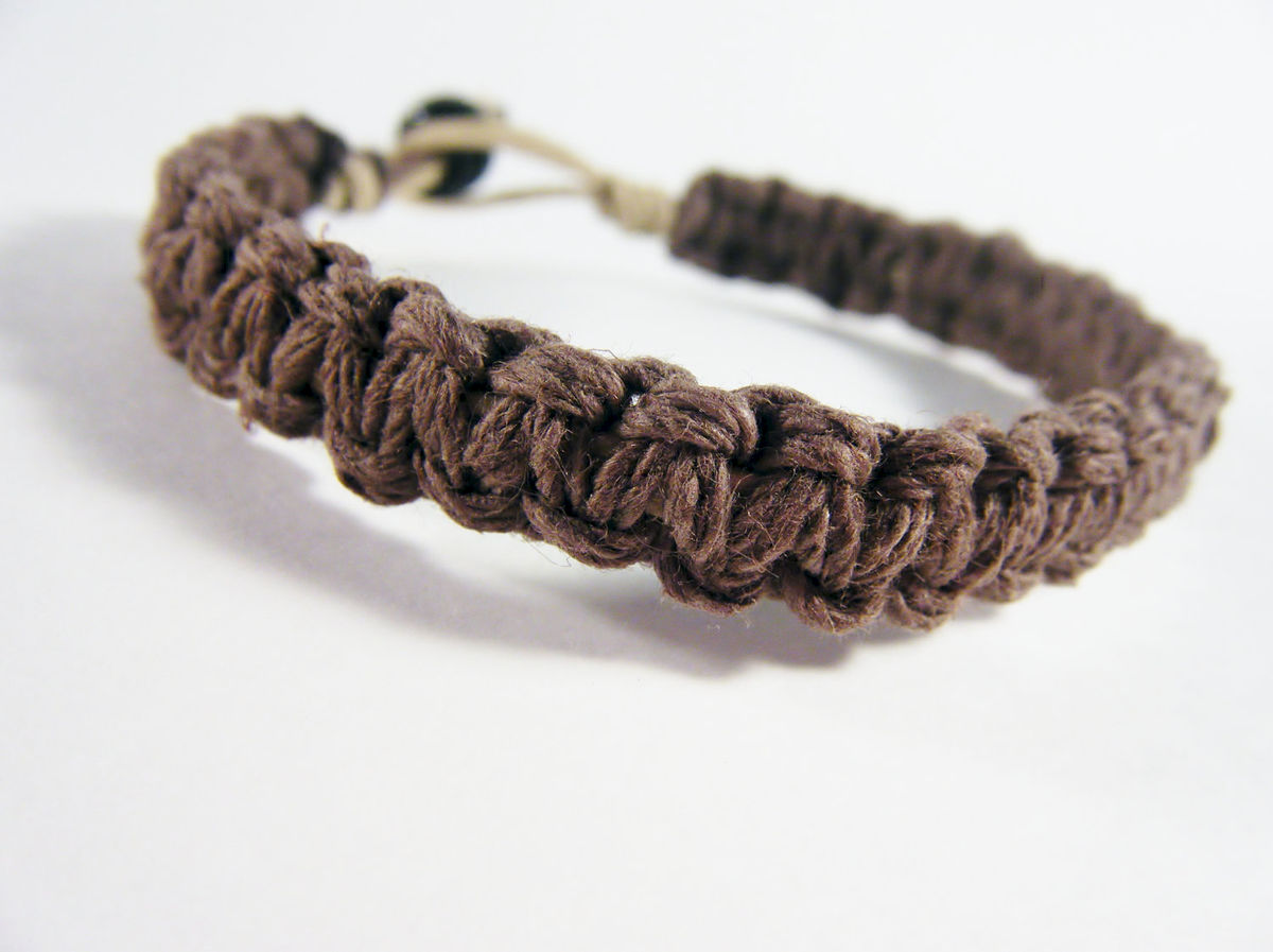Thick Brown Hemp Bracelet For Men - product images  of
