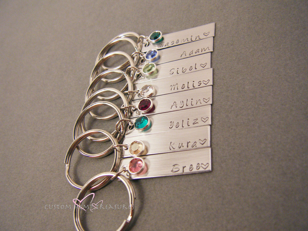 Set of 8 Keychains, birthstone name keychains - product images  of
