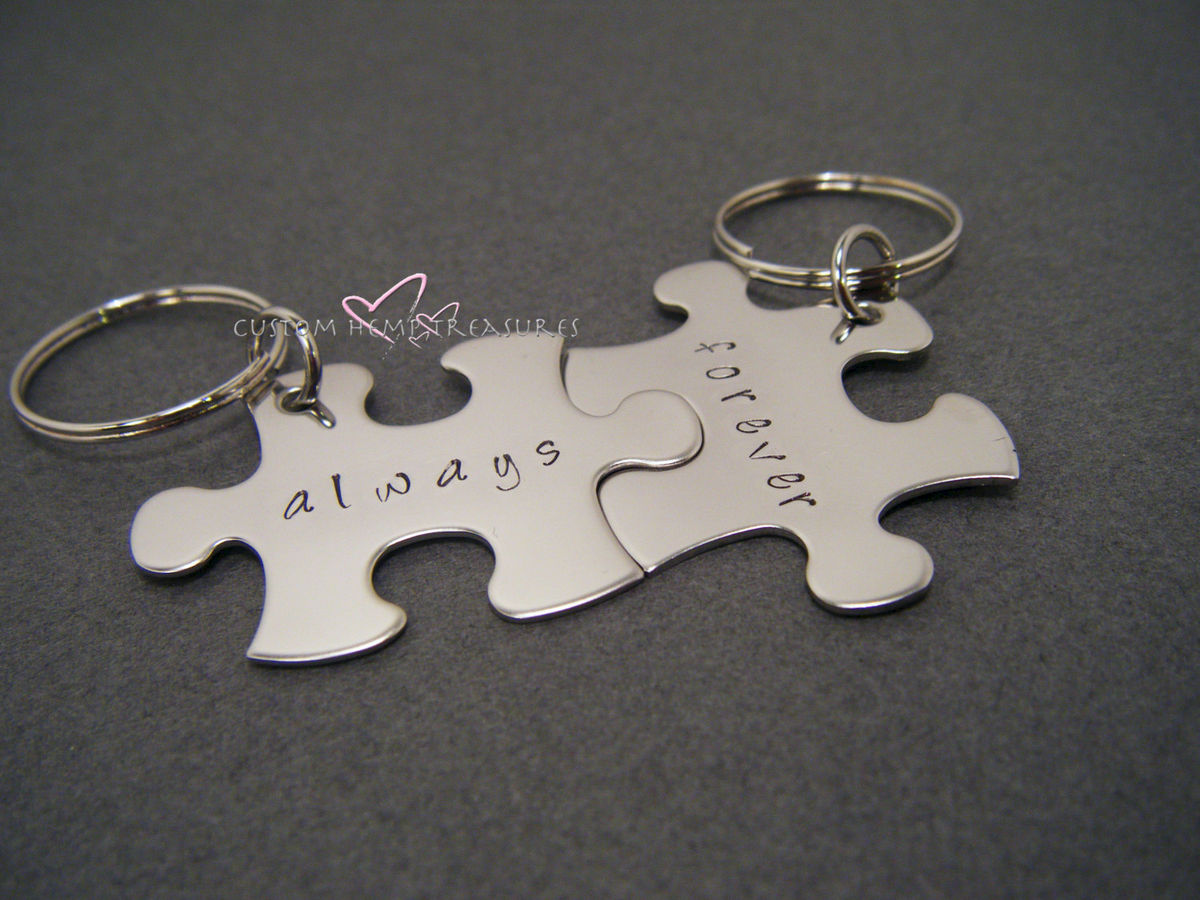 Always Forever Puzzle Keychains, couples keychains - product image