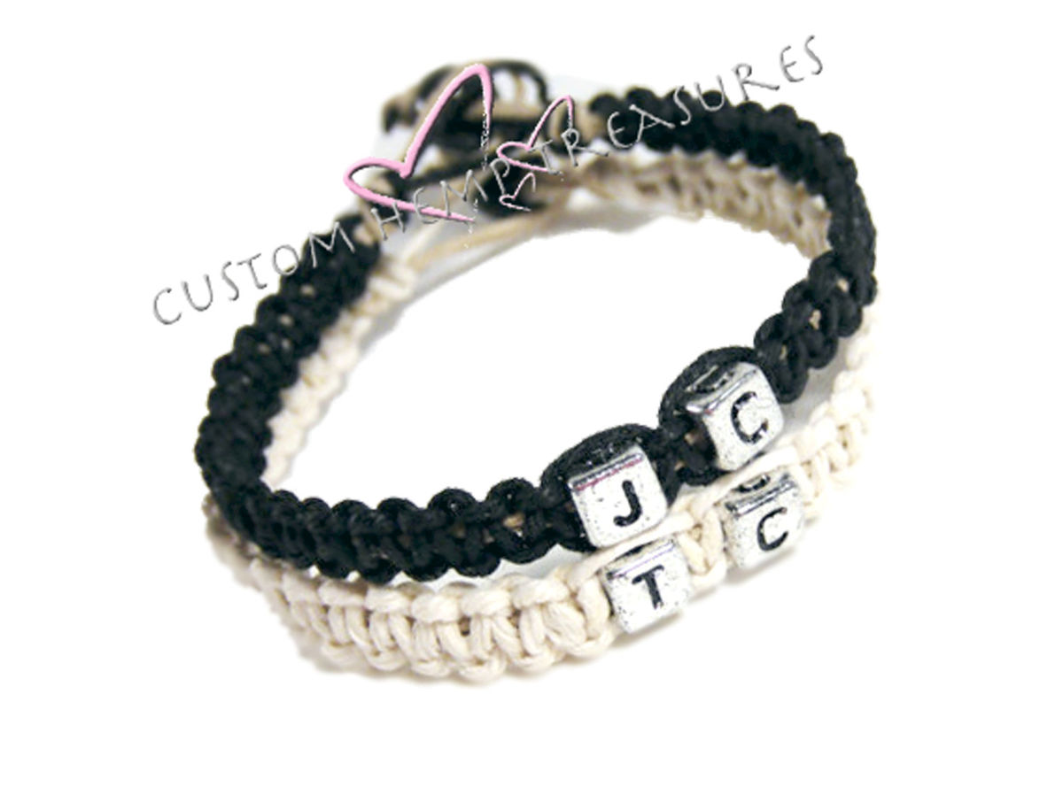Personalized Couples Bracelets, Custom Initial Bracelets - product image