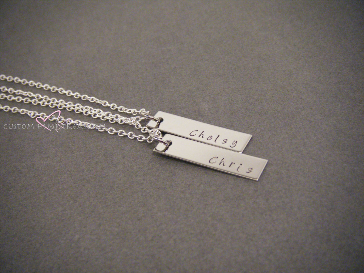 Set of 2 Hand stamped Necklaces, Couples Necklaces - product images  of