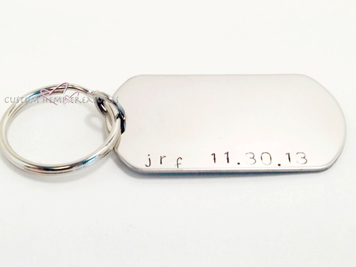 Personalized Dog Tag Keychain, Hand stamped dog tag boyfriend gift - product images  of