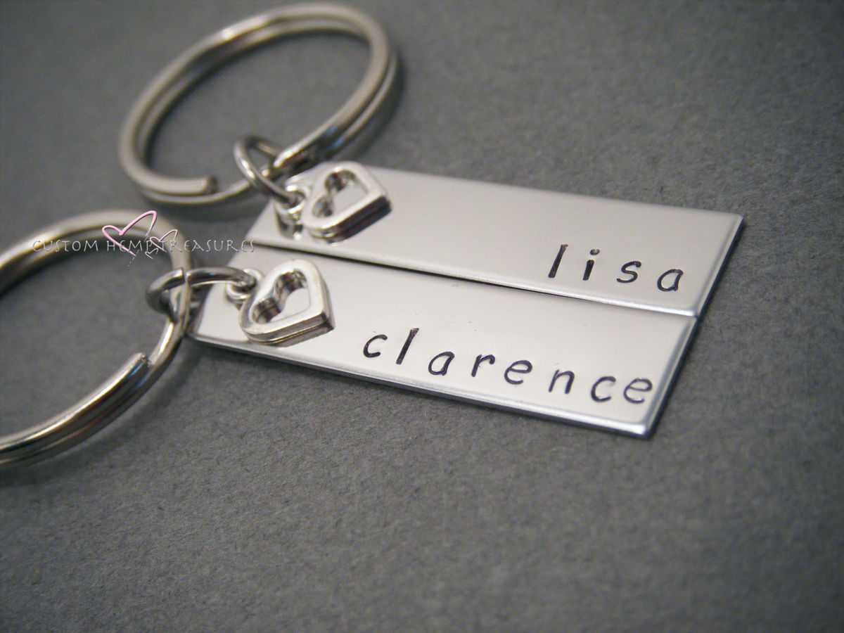 Personalized Couples Keychains with heart charm - product images  of