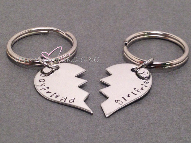 Broken Heart Keychains, Couple Keychains, Boyfriend Girlfriend Keychains - product images  of