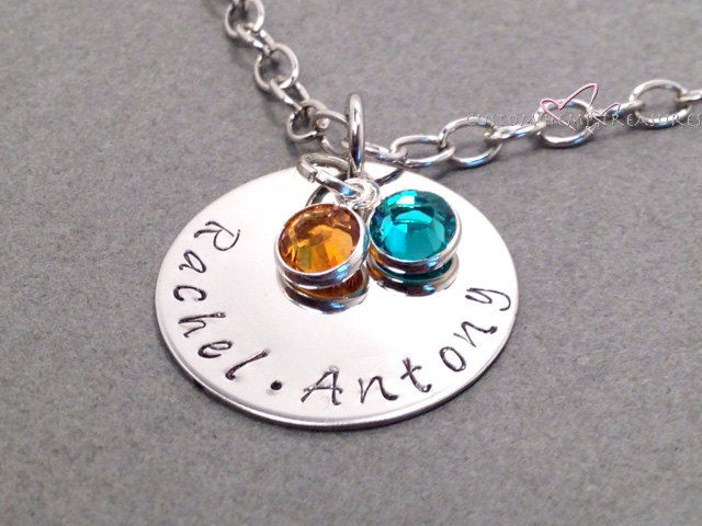 Mom Necklace, Hand stamped circle necklace with custom names and birthstones - product images  of