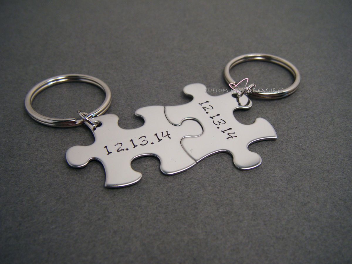 Couples Keychains with Personalized Date for Anniversaries or Weddings - product image