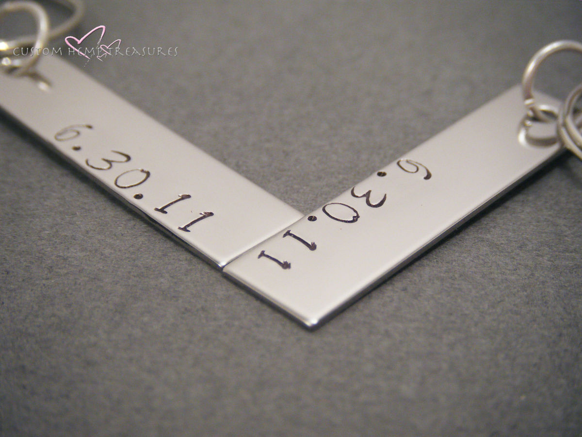 Stamped Date Bar Keychains, Couples keychains - product images  of