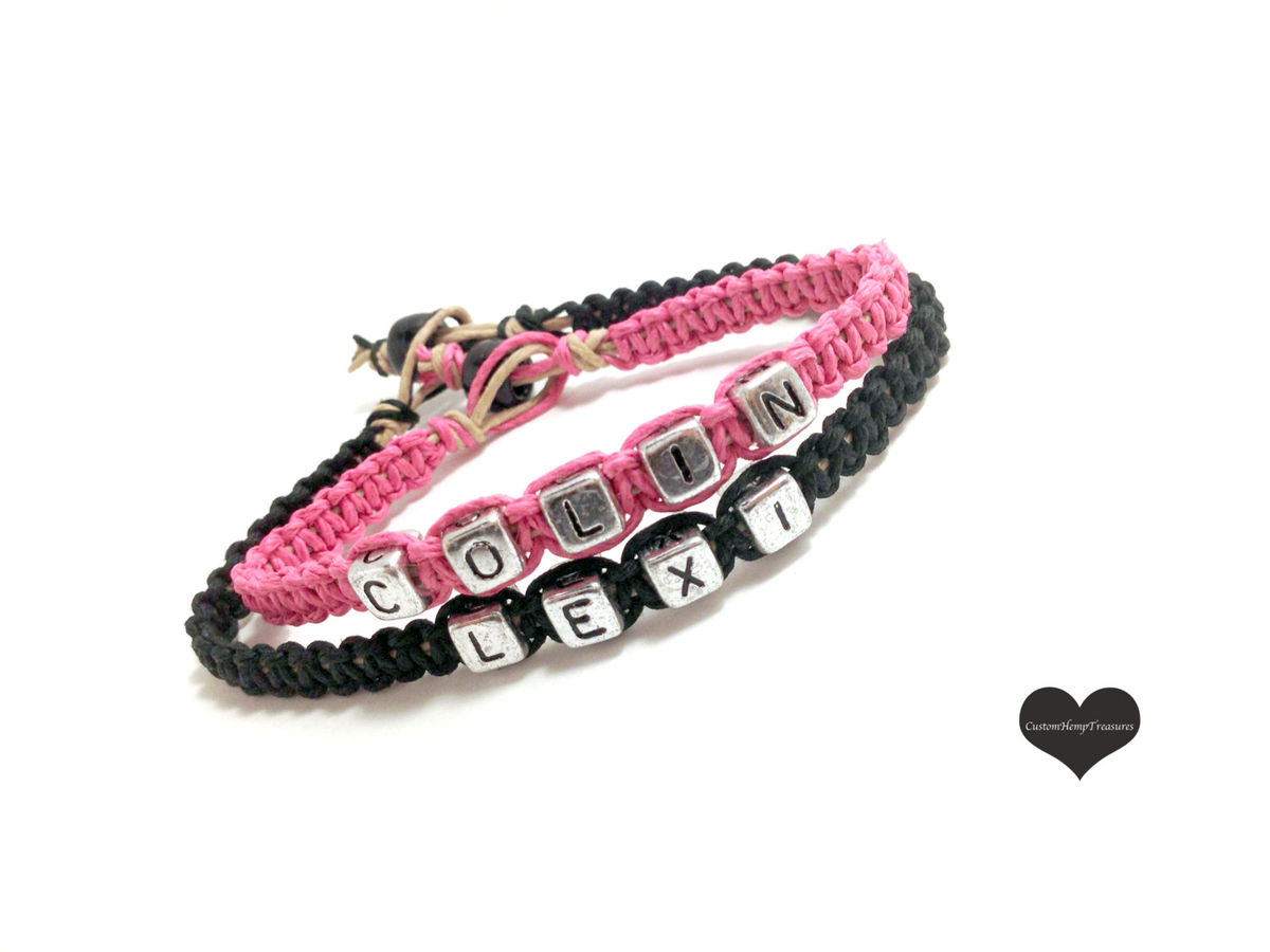 Couples Name Bracelets, Couples Gift, Pink Black Hemp Bracelets for Couples - product image
