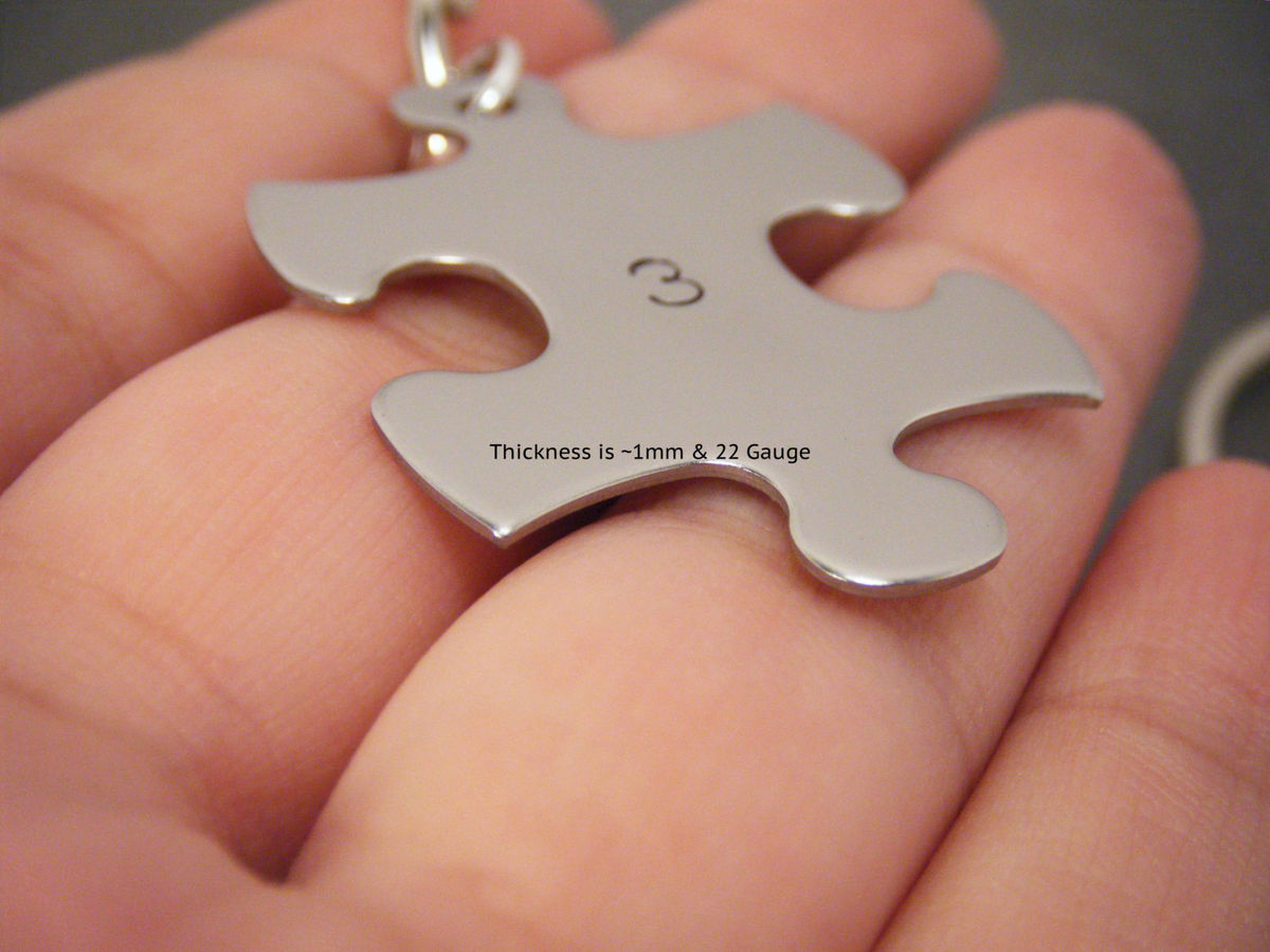 Custom Name Keychains for Couples, puzzle piece keychain set - product images  of