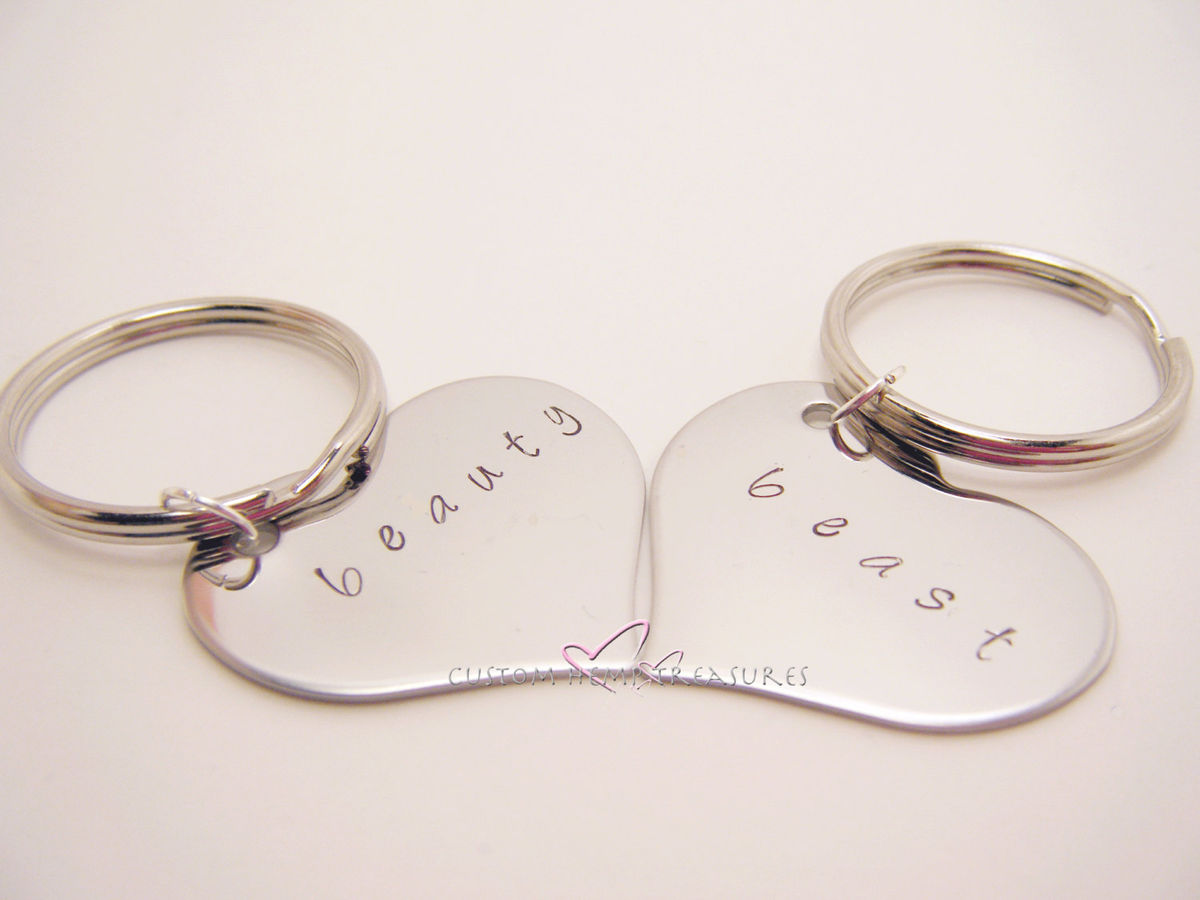 Beauty Beast Heart Keychains, Couples Keychains - product images  of