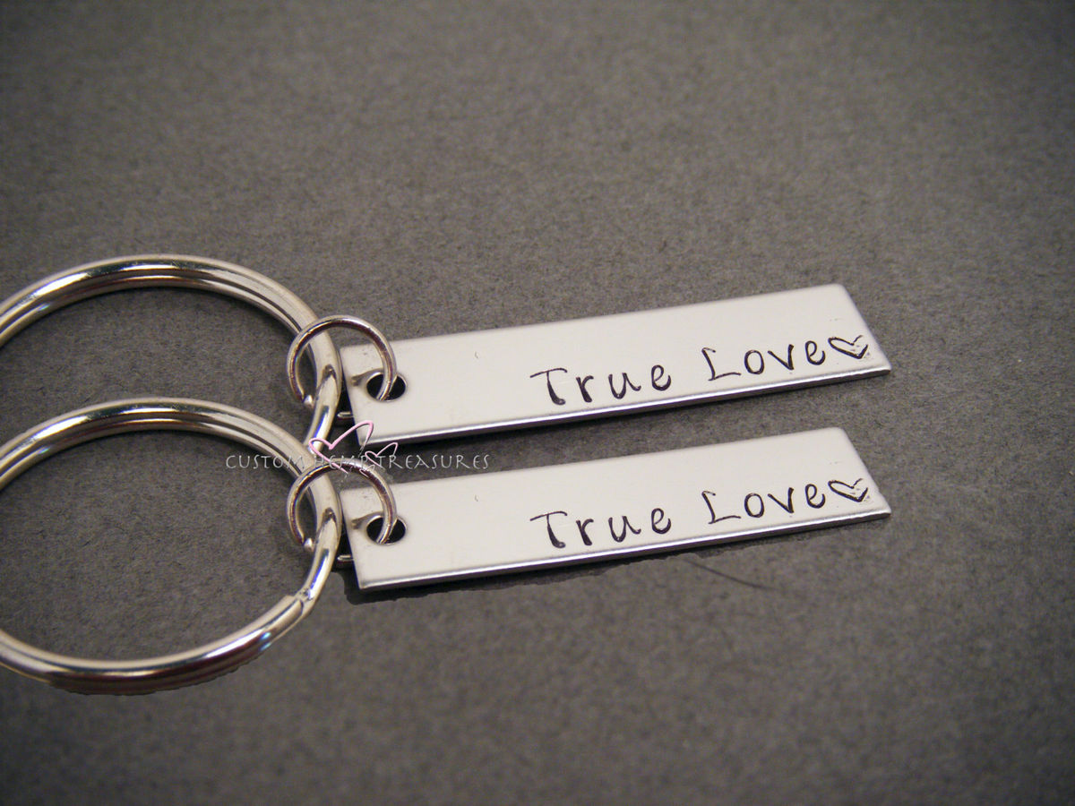 Couples Keychains, True Love Key Chain, Bar Keychain Set - product images  of