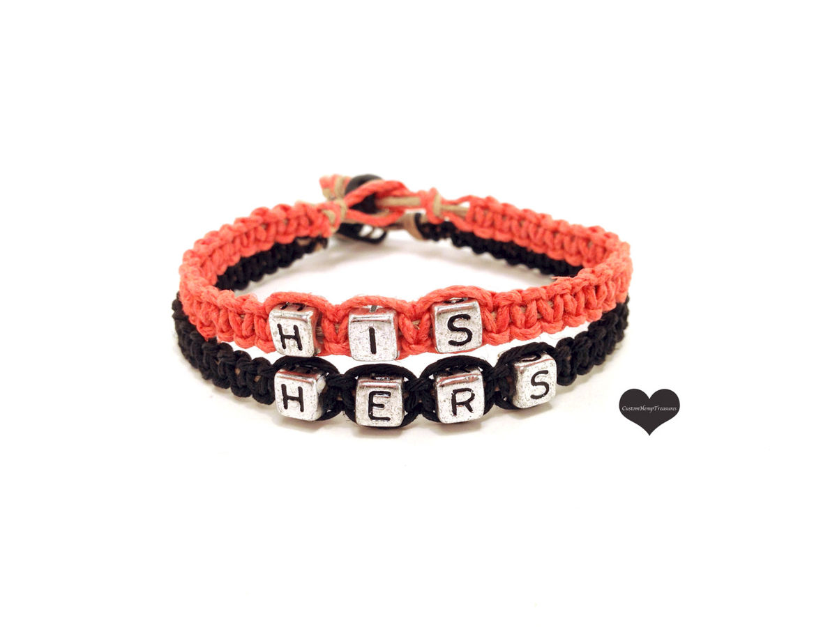 His Hers Hemp Bracelets, Couples Bracelets - product images  of