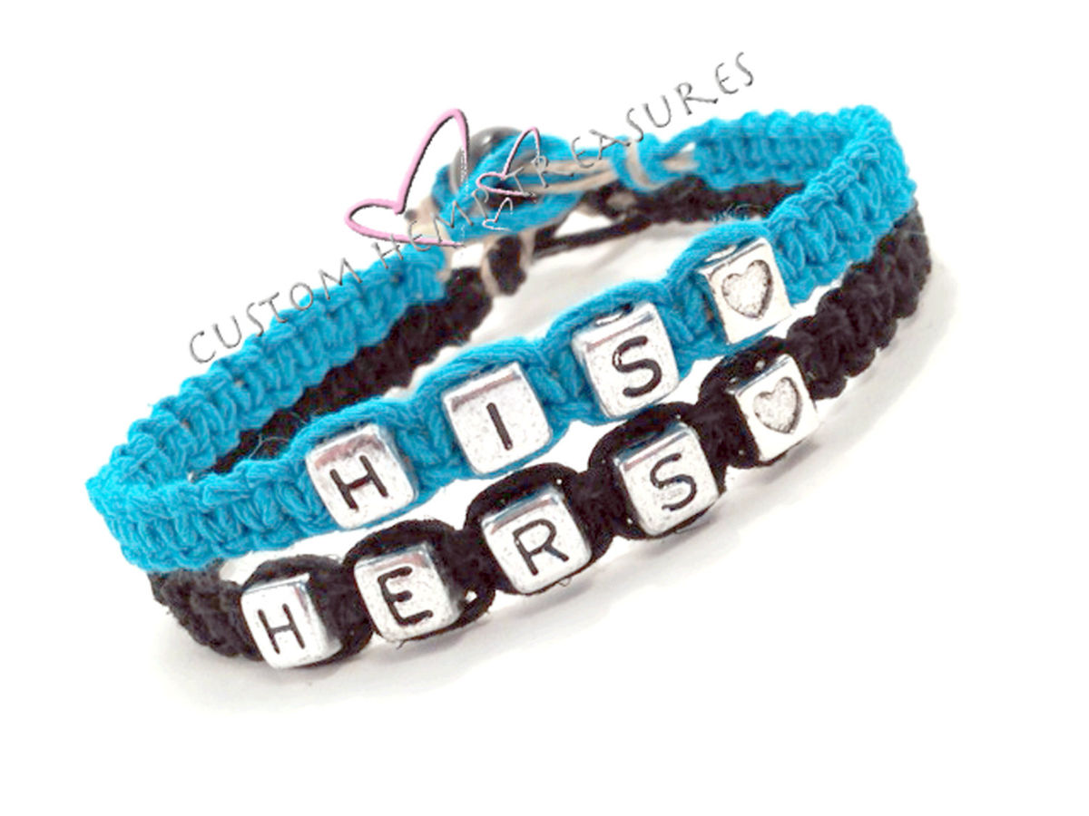 His Hers Hemp Bracelets, Custom Couples Bracelets with heart bead - product images  of