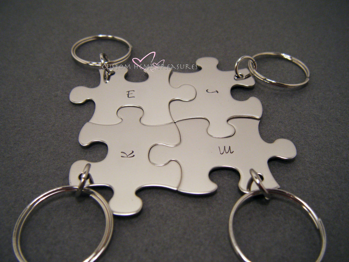 4 Puzzle Piece Keychain Set For Families or Best Friends - product image