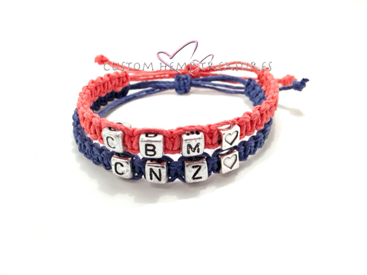 Personalized Initial Hemp Bracelets, Couples Bracelets - product images  of