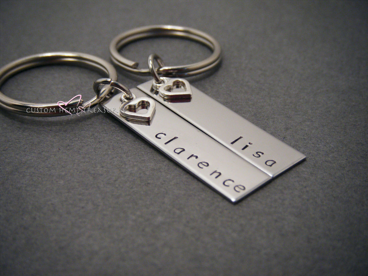 Rectangle Name Keychains with Heart Charms, Couples Keychains - product images  of