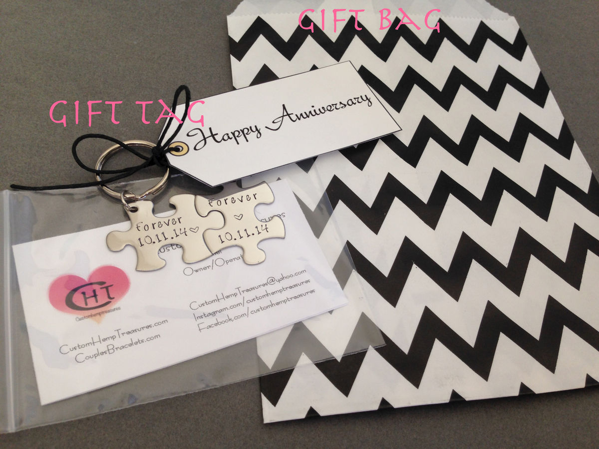 Personalized Initials Date Key chain for couples - product images  of