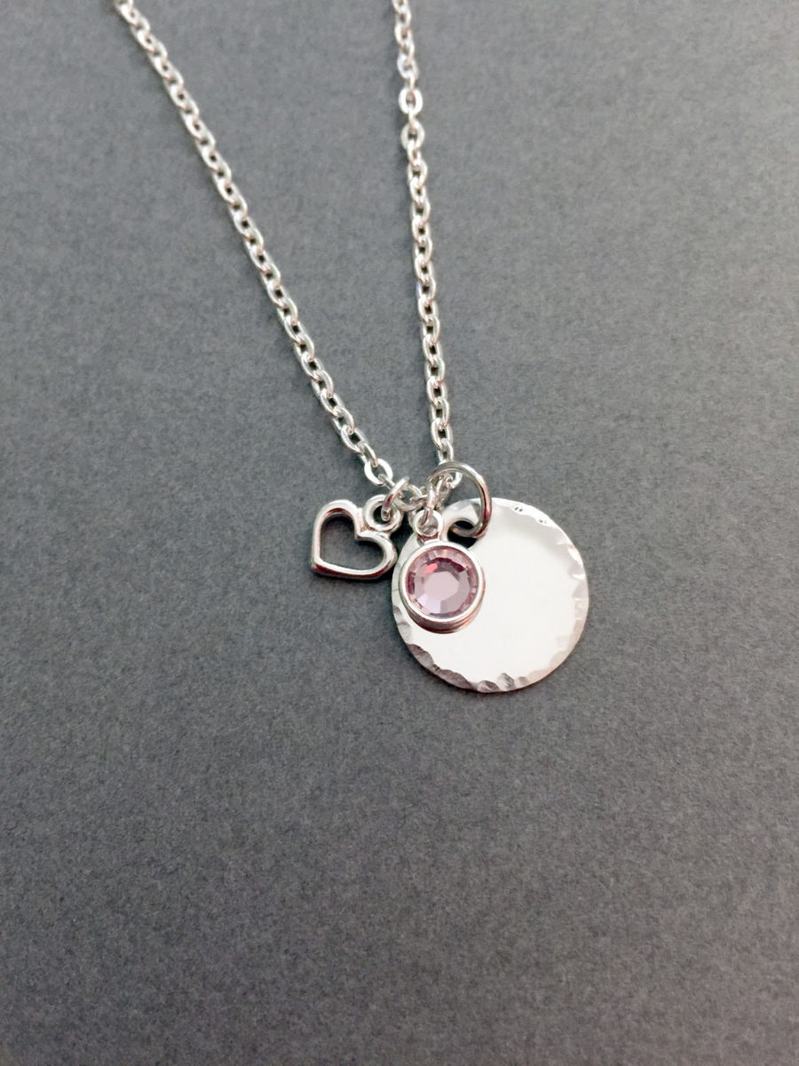 Personalized Necklace with Birthstone and heart charms - product image