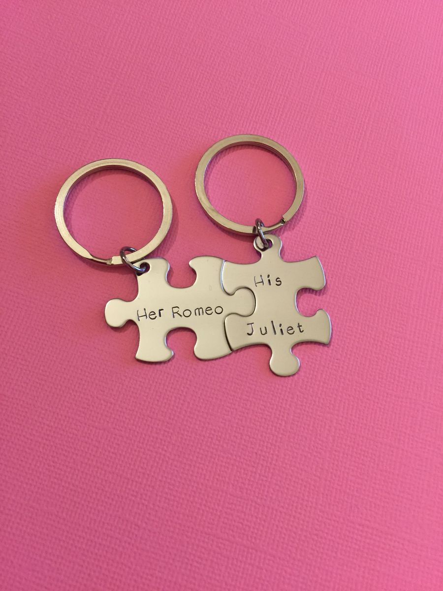 Her Romeo His Juliet Puzzle Piece Keychains - product images  of