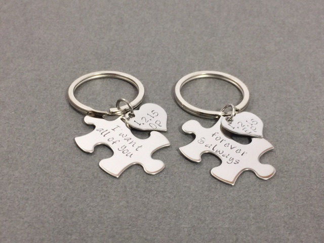 Personalized Puzzle Piece Keychains with heart charm add on, Couples Keychains - product image
