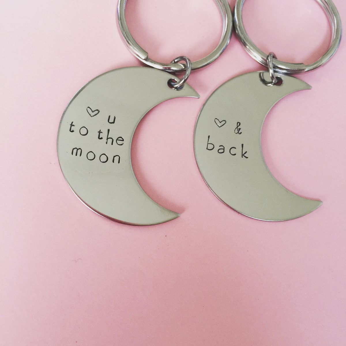 Moon Keychains, Heart you to the moon and back, couples keychains - product images  of