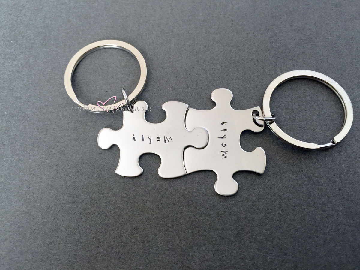 I love you so much Puzzle Piece Keychains, couples keychains - product images  of